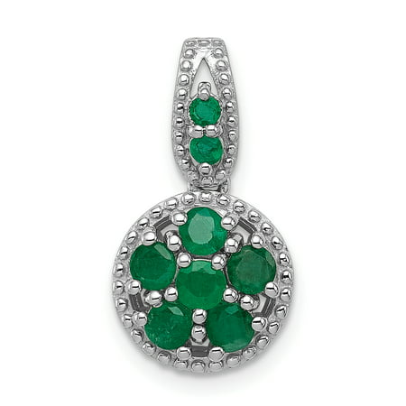 925 Sterling Silver Rhodium Plated and Emerald Circle Shaped Pendant - image 2 de 2