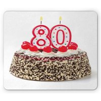 80th Birthday Mouse Pad, Birthday Party Cake with Tasty Cherries Sprinkles and Candles Image, Rectangle Non-Slip Rubber Mousepad, Multicolor, by Ambesonne