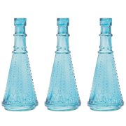 Luna Bazaar Small Vintage Glass Bottle (6.75-Inch, Marguerite Design, Turquoise Blue, Set of 3) - Flower Bud Vase - For Home Decor, Party Decorations, and Wedding Centerpieces