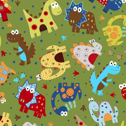 """Dino Land Dinos 44"""" Cotton Fabric Print"""