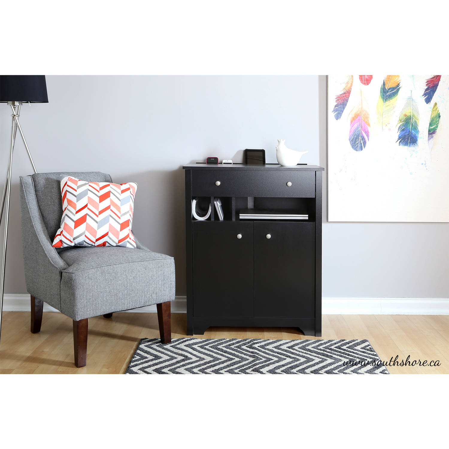 South Shore Vito Charging Station Cabinet, Black