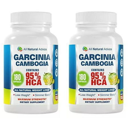 95% HCA Garcinia Cambogia Extract 180 Capsules All Natural Ingredients. NEW from All Natural Advice, Maxiumum Strength Dietary Supplement (Pack of