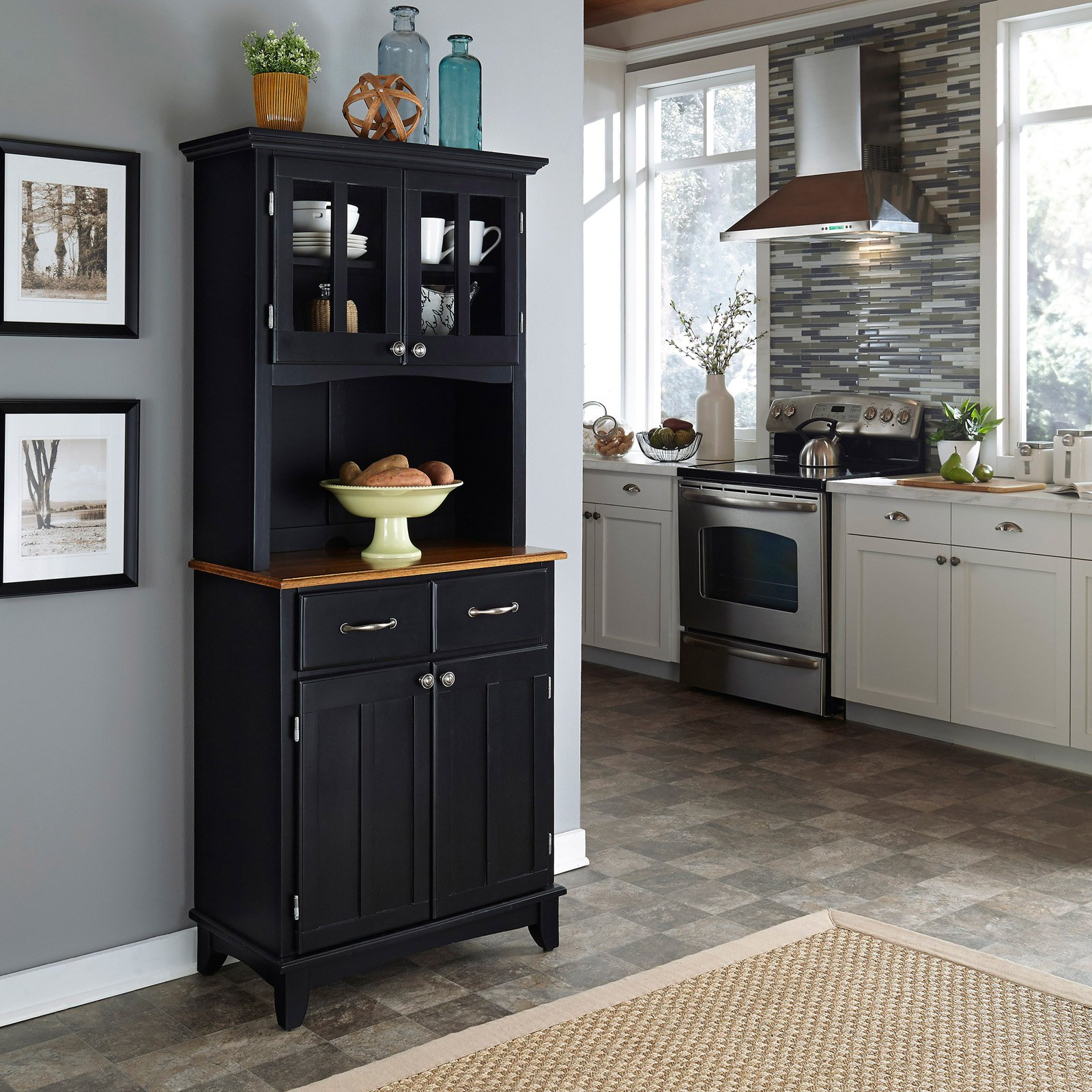Home Styles Small Buffet Two Door Hutch Cherry Finish