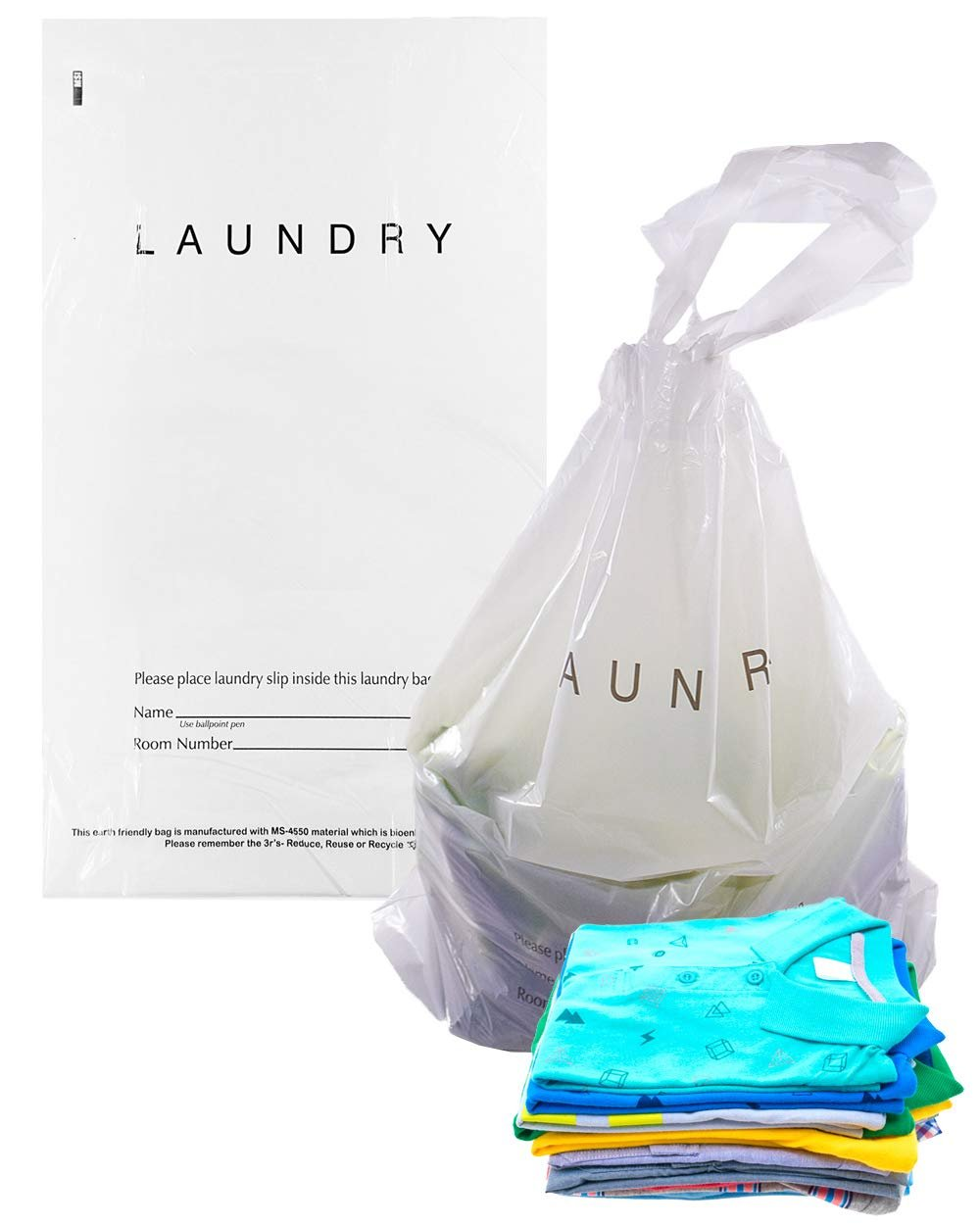 Pack of 1000 Tear Strip Laundry Bags 14 x 24. Hospitality