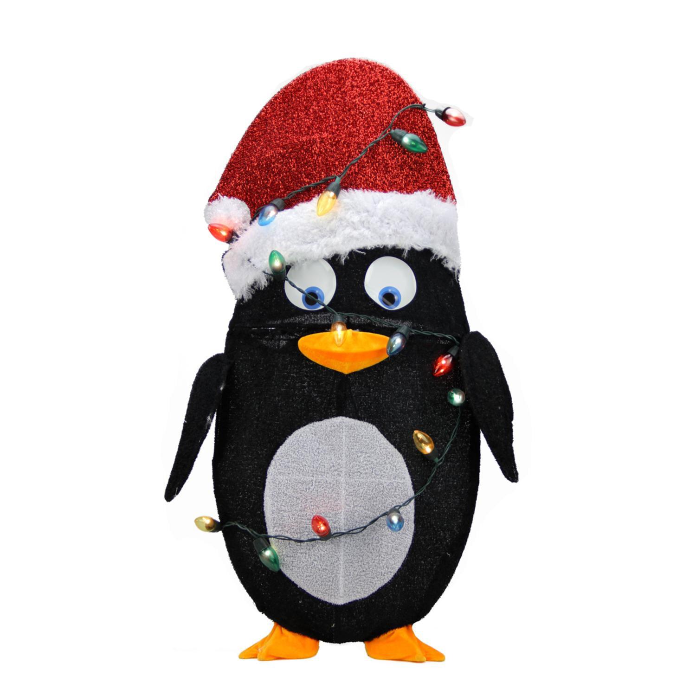 "32"" Pre-Lit Candy Cane Lane 2D Penguin Christmas Yard Art Decoration - Clear Lights"