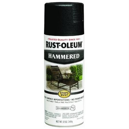 (3 Pack) Rust-Oleum Stops Rust Black Hammered Spray Paint, 12 oz - Blacklight Spray