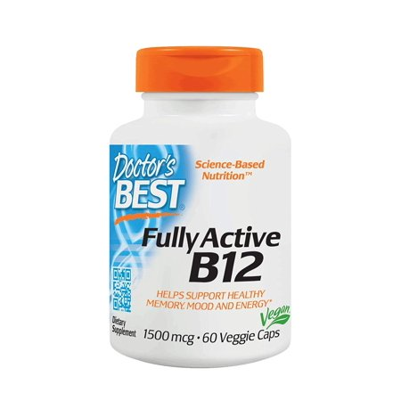 Fully Active B12 1500 mcg, Non-GMO, Vegan, Gluten Free, Supports Healthy Memory, Mood and Circulation, 60 Veggie Caps Doctor's
