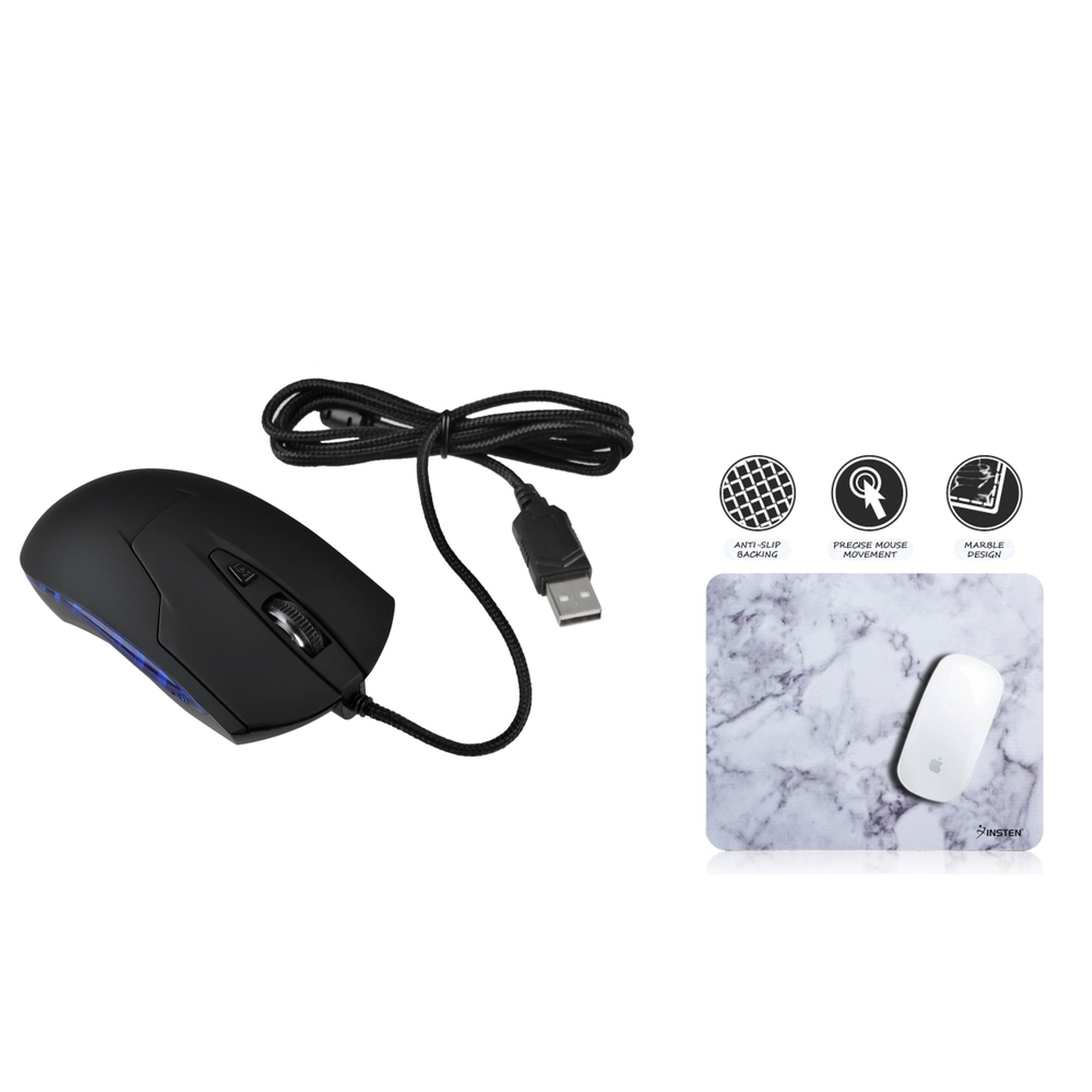 Wired Optical Mouse by Insten Black USB Optical Blue LED Wired Game Mouse + White Marble Mouse Pad