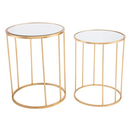 Modern Deco Contemporary Round Nesting Sofa Accent Side End Table, Set of 2, Gold, Mirror Steel Art Deco Set Sofa