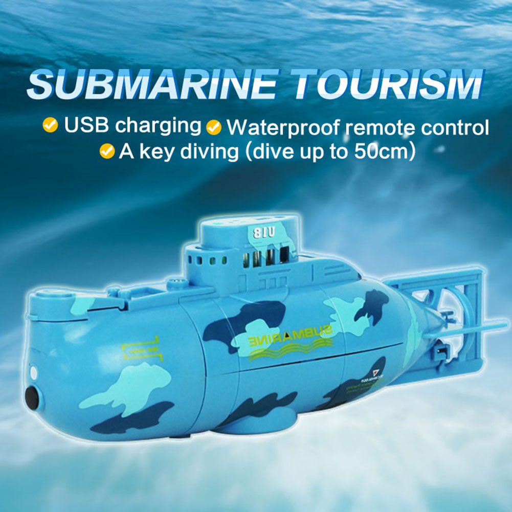 Redcolourful Mini RC Submarine Ship 6CH High Speed Radio Remote Control Boat Model Electric Kids Toy