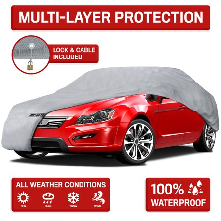Motor Trend 4-Layer 4-Season Waterproof Outdoor UV Protection for Heavy Duty Use Full Cover for Cars (5 (Dustop Car Cover)