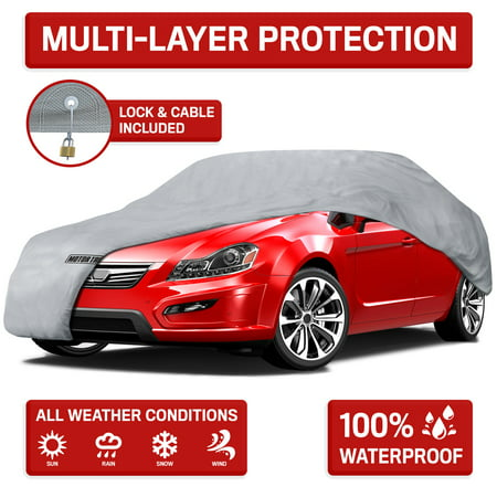 Motor Trend 4-Layer 4-Season Waterproof Outdoor UV Protection for Heavy Duty Use Full Cover for Cars (5