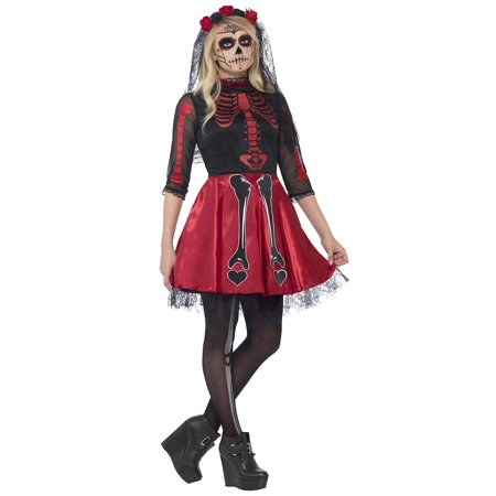 Smiffy's Teen Girls' Day of The Dead Diva Costume Dress and Headpiece Halloween Size S Ages 14+ 44342