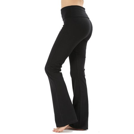 JED FASHION Women's Ultra Stretchy Fold-Over Waist Yoga Pants (Red Activewear)