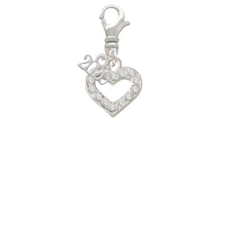 Silvertone Crystal Open Heart - 2020 Clip on Charm Crystal Open Heart Charm