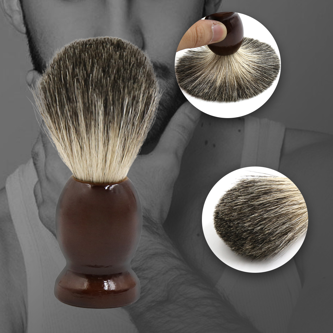 Brown Wooden Handle Pure Badger Hair Wet Shaving Brush for Men's Grooming