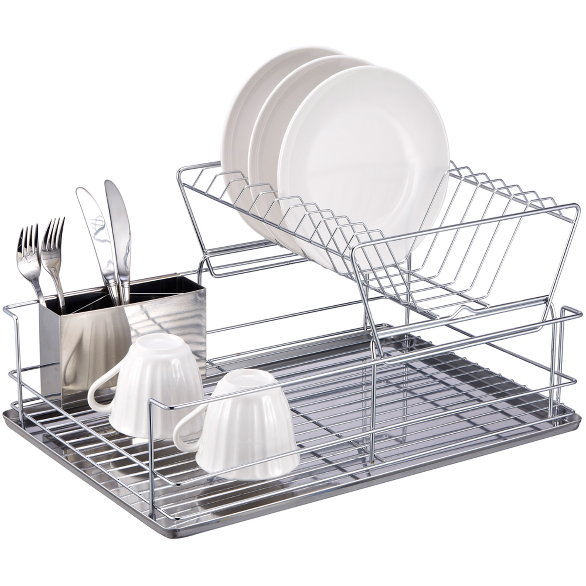Home Basics 2 Tier Dish Rack, Chrome/Stainless Steel