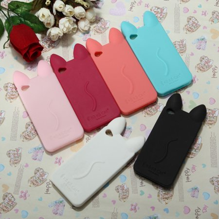 purchase cheap 4c114 361e5 Phone Protective Case Cover, 3D Lovely Cute Cat Ear Soft Silicone Back Case  Skin Cover For Apple Phone 4S 4 - Good Touch Feeling - Walmart.com