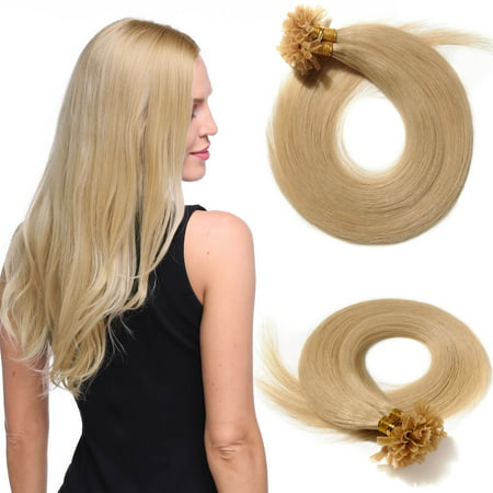 S-noilite Invisible Nail/U Tip Glue Real Remy Human Hair Extensions Real Soft Hair Extensions 1 Piece/100 Strands Blond & bleach