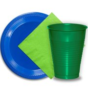 """50 Dark Blue Plastic Plates (9""""), 50 Emerald Green Plastic Cups (12 oz.), and 50 Lime Green Paper Napkins, Dazzelling Colored Disposable Party Supplies Tableware Set for Fifty Guests."""