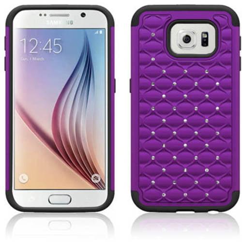 Mundaze Purple Diamond Double Layered Case for Samsung Galaxy S6