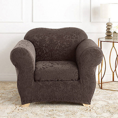 Exceptional Sure Fit Stretch Jacquard Damask 2 Piece Chair Slipcover