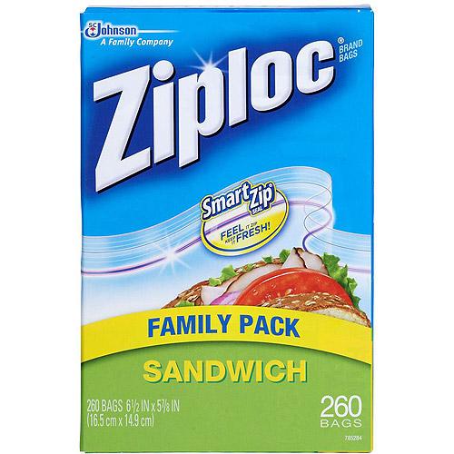 Ziploc Sandwich Bags Family Pack Gallon Size, 260 count