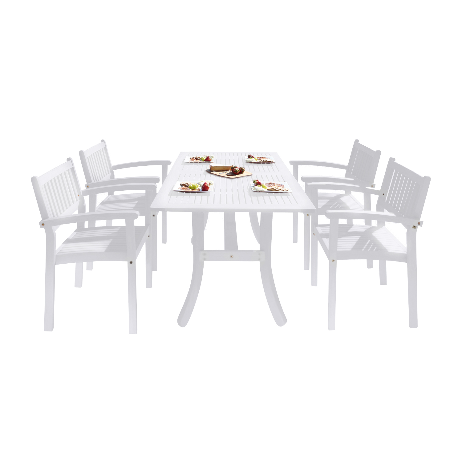 Bradley Outdoor Patio Wood 5-piece Dining Set with Stacking Chairs