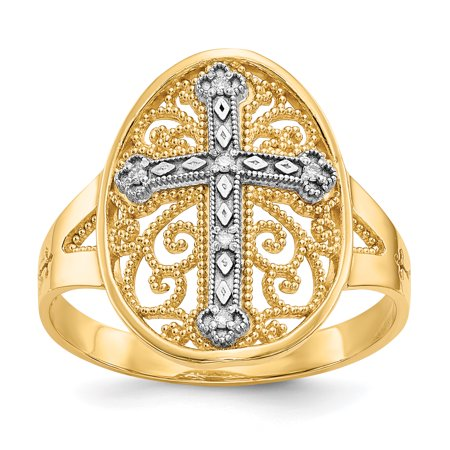 All Fine Jewelry Diamond Ring (14k Yellow White Gold Diamond Filigree Cross Religious Band Ring Size 7.50 Fine Jewelry For Women Gift Set)