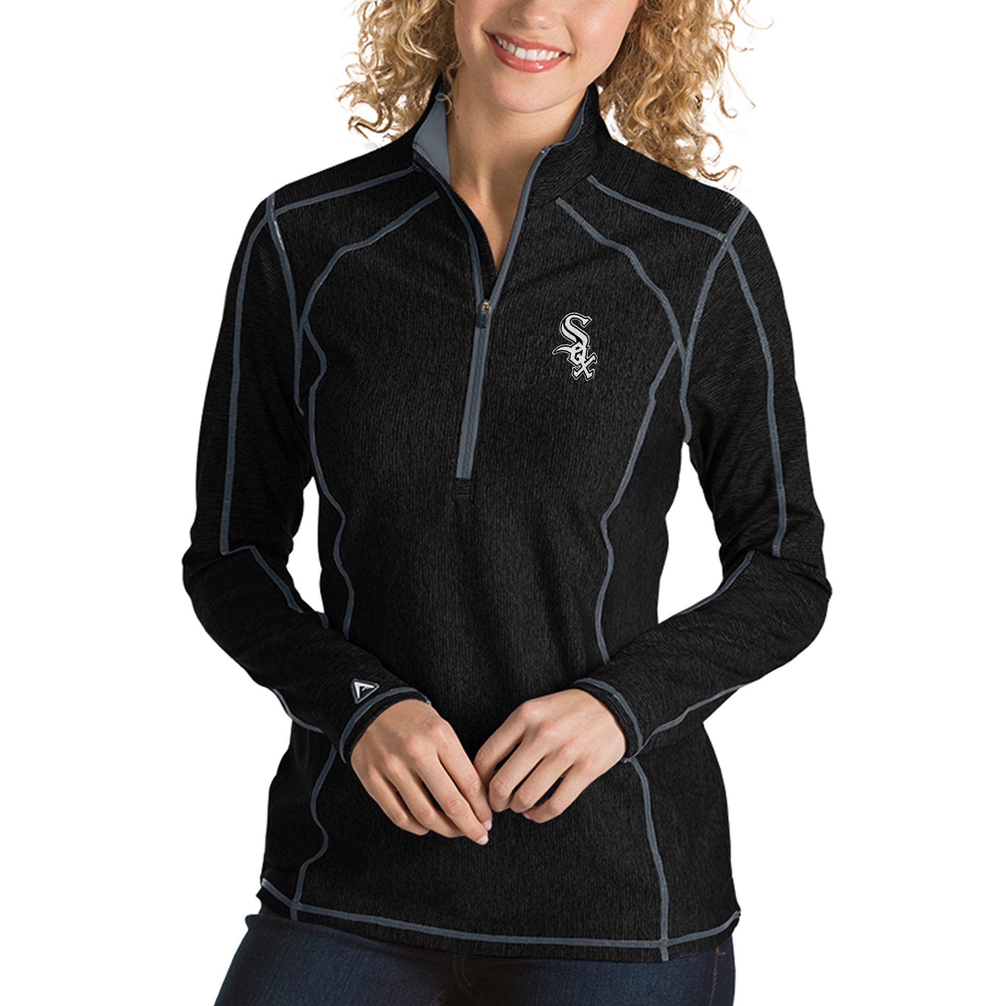 Chicago White Sox Antigua Women's Tempo Desert Dry 1/4-Zip Pullover Jacket - Heathered Black