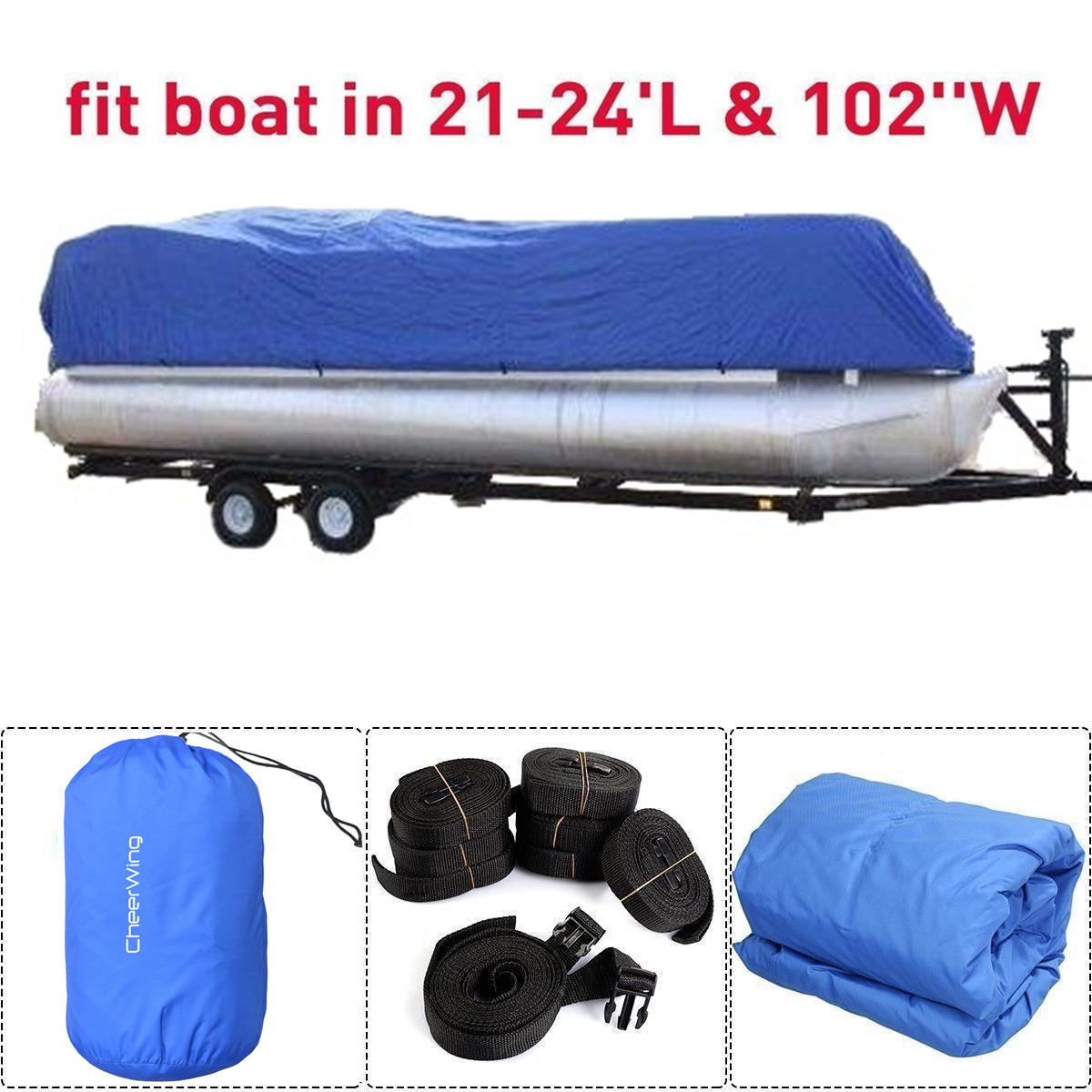 21-24 Ft 280D Waterproof Heavy Duty Fabric Trailerable Po...