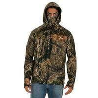 Mossy Oak Men's Tech Fleece Hoodie with Built-in Neck Gaiter