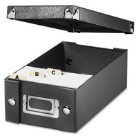 "Snap-N-Store Collapsible Index Card File Box, Black, Holds 1,100 3"" x 5"" Cards"