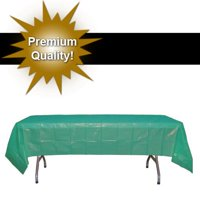 "Exquisite White Rectangle Tablecloth - 54"" X 108"" Disposable Plastic Tablecloth Cover - Heavy Duty Premium Plastic Disposable White Table Cloth Rectangle, 1ct"