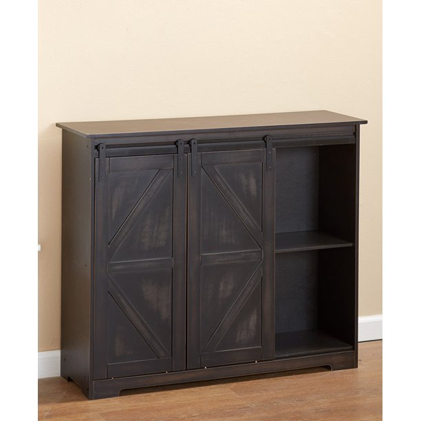 Barn Door Sideboard Buffet Cabinet with Distressed Finish