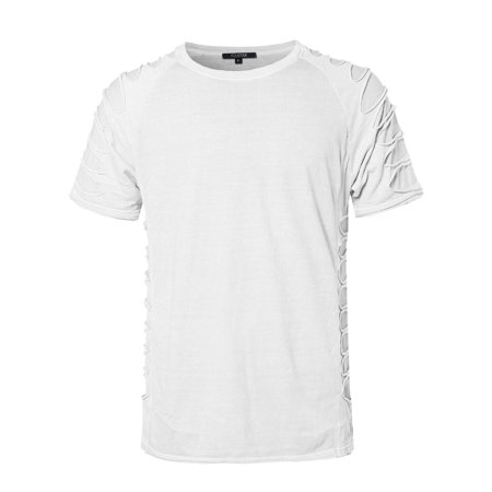FashionOutfit Men's Distressed Design Short Sleeves Tee Shirt