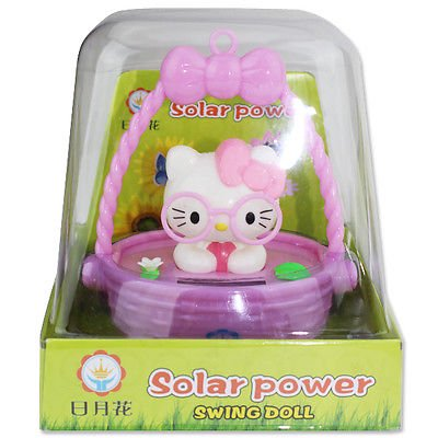 Smiling JuJu Cute Hello Kitty Wearing Pink Glasses in Pink Basket Solar Toy Home Decor