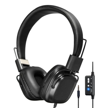 On-Ear Headphones with ANC Active Noise Cancelling Stereo, Foldable Headband, Built-in Mic, Soft Full Cover Earmuffs 14 Hours Playback Time for PC Laptops & Smartphones iPod DVD ()