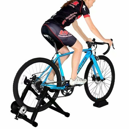 Indoor Bike Trainer Stand,Heavy Duty Stable Bike Stationary Riding Stand Supports 350lbs Bicycle Trainer with Quick Release Wheel Block & 8 Level Resistance