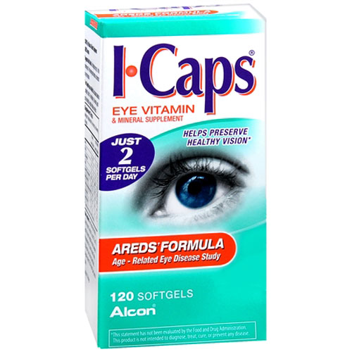 I-Caps Eye Vitamin And Mineral Supplement Softgels, Areds Formula, 120 Ea