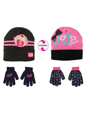 Girls Hat and Glove Set, Kids JoJo Reversible Hat and 2 Pair Gloves Set for Girls Age 4-7