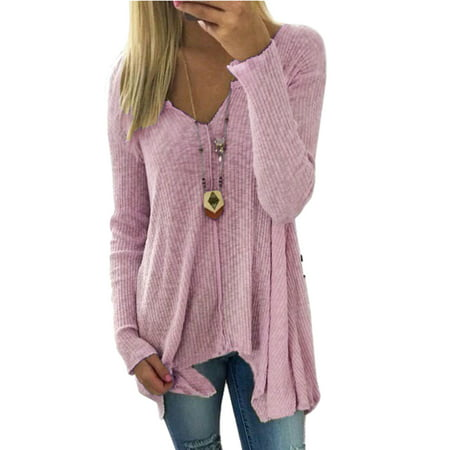 V-neck Sweater Jumper (Plus Women V Neck Knitted Sweater Shirt Long Sleeve Jumpers Pullover Tops Winter Autumn Irregular Blouse Shirts S-5XL)