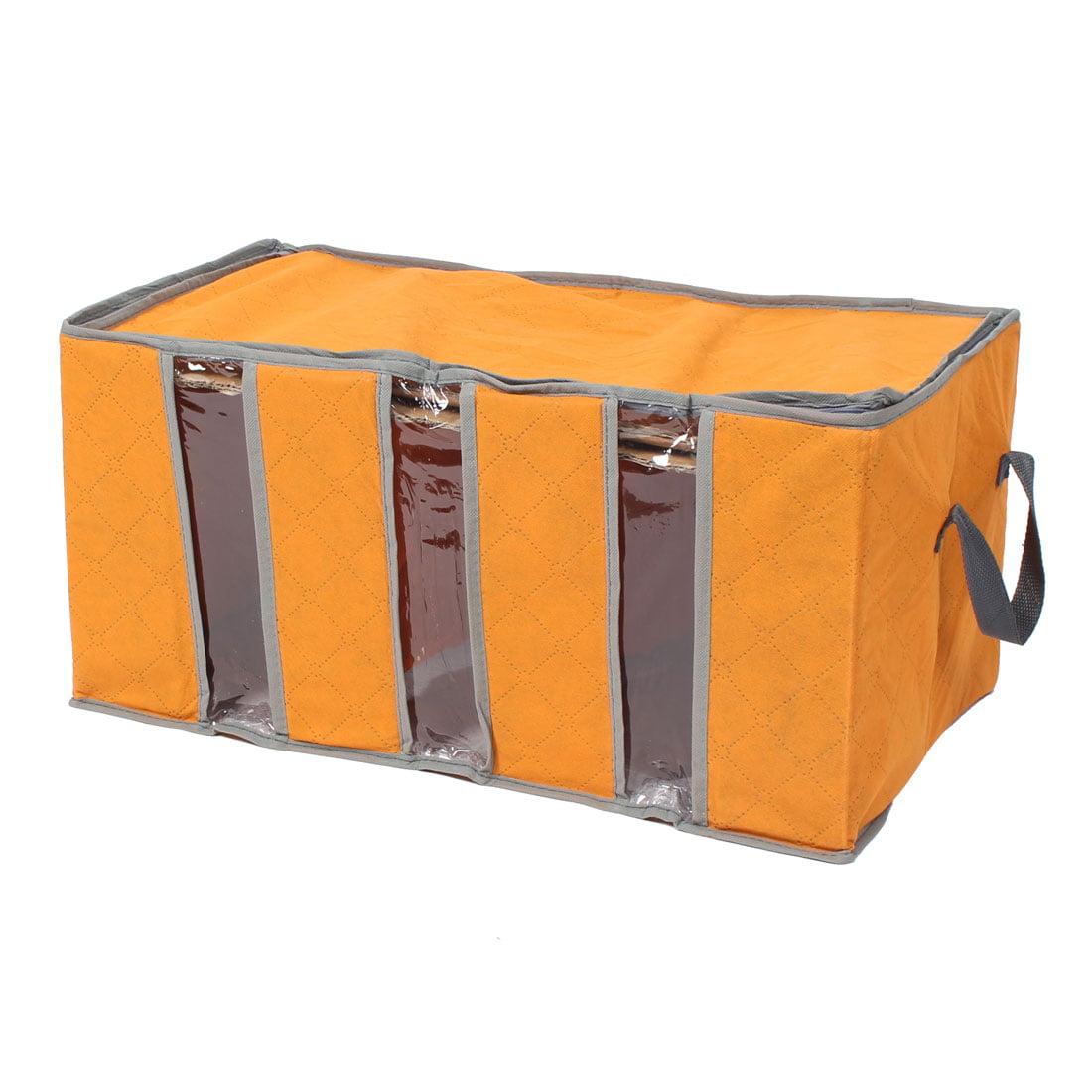 Clothes Blanket Closet Sweater Foldable Storage Box Case Bag Orange 58x29x33cm