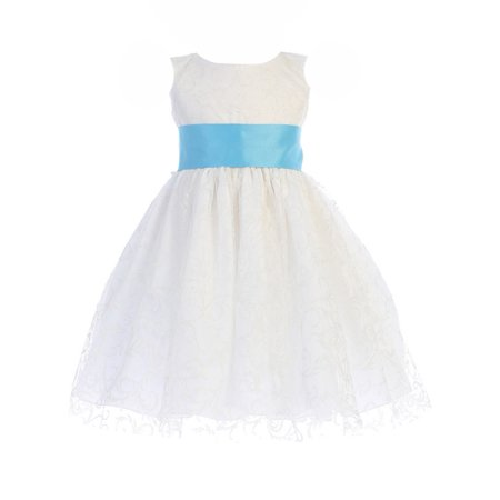 a64a637468 Lito Little Girls White Glitter Tulle Aqua Sash Bow Flower Girl Dress