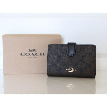 f5e4f58676b4 Coach - Coach F23553 Medium Corner Zip Wallet Signature PVC Brown Black -  Walmart.com