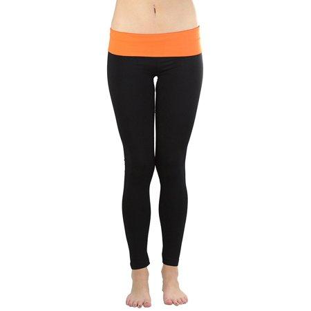 2a61ee10ba Tobeinstyle - ToBeInStyle Women's Black Athletic Leggings with Fold-Over  Contrast Waistband - Walmart.com