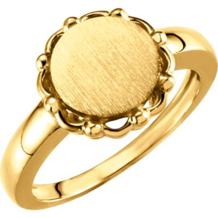 14k Yellow Gold Metal Fashion Signet Ring Ladies - 5.3 Grams - Size 6 - Gold Metal Fashion Ring
