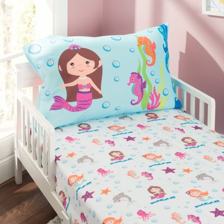 Everyday Kids Toddler Sheet Set - Undersea Mermaids - Mermaids Toddler Bed Set