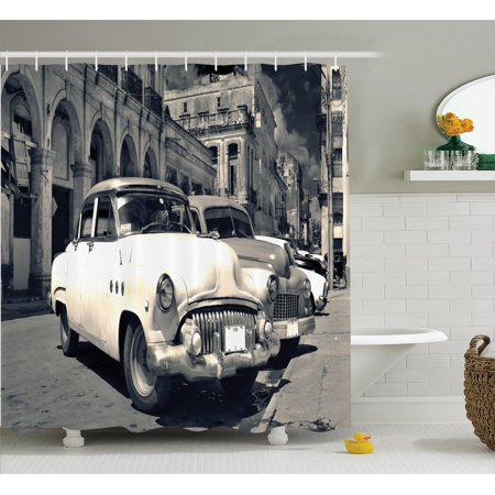 Old Car Decorations Panoramic View Of Shabby Havana Street With Vintage Clic American Cars