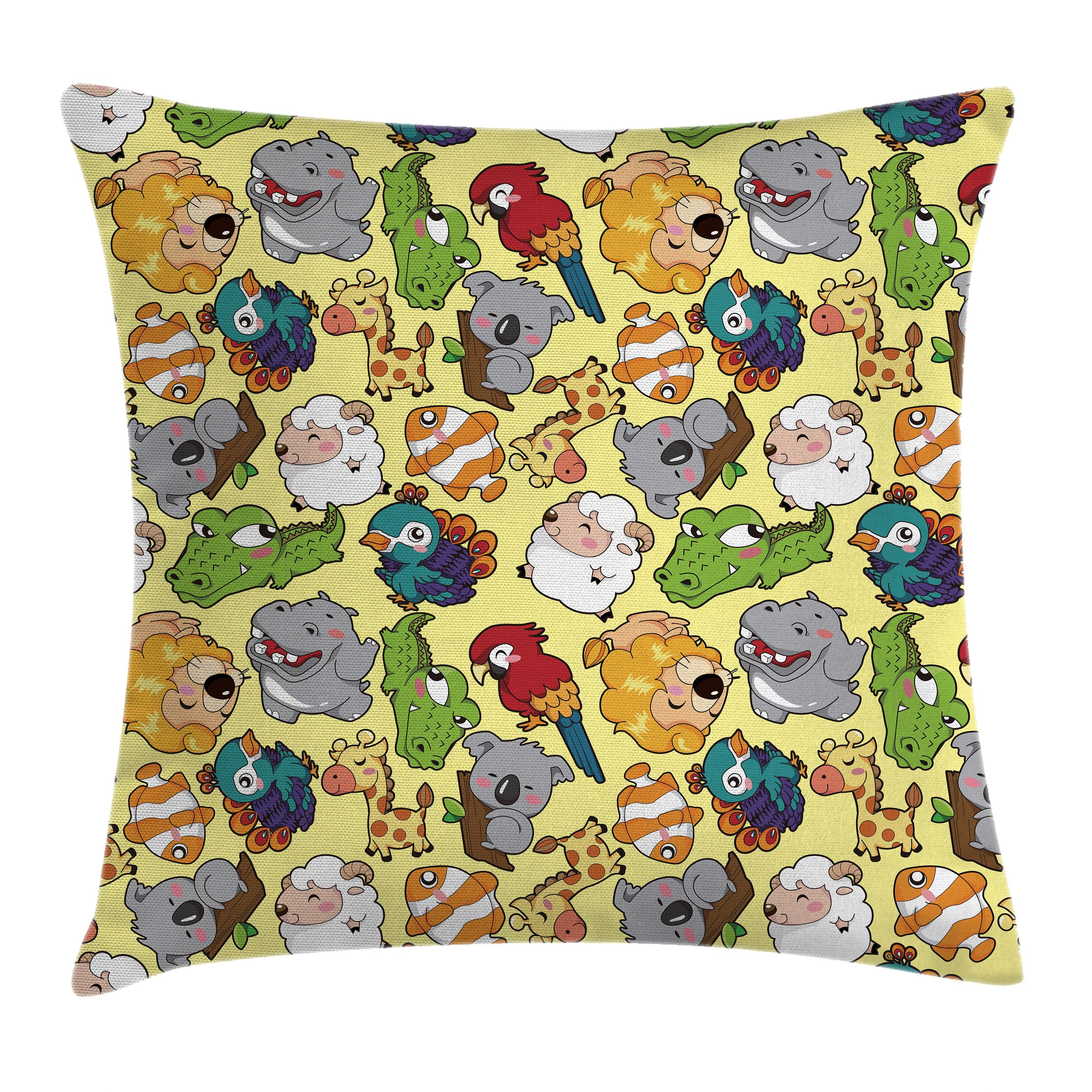 Children Throw Pillow Cushion Cover, Funny Animals Hippo Giraffe Koala Parrot Crocodile Zoo Jungle Kids Nursery Graphic, Decorative Square Accent Pillow Case, 16 X 16 Inches, Multicolor, by Ambesonne